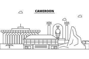 Cameroon architecture skyline buildings, silhouette, outline landscape, landmarks. Editable strokes. Urban skyline illustration. Flat design vector, line concept