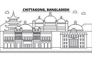 Chittagong, Bangladesh architecture skyline buildings, silhouette, outline landscape, landmarks. Editable strokes. Urban skyline illustration. Flat design vector, line concept