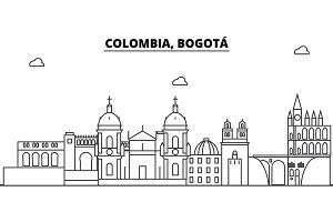 Colombia, Bogota architecture skyline buildings, silhouette, outline landscape, landmarks. Editable strokes. Urban skyline illustration. Flat design vector, line concept