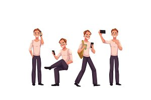 Young man using phone, smartphone, calling, texting, browsing, making selfie