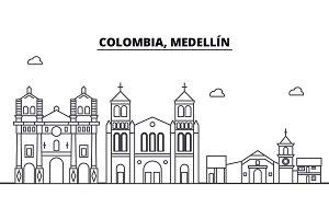 Colombia, Medellin architecture skyline buildings, silhouette, outline landscape, landmarks. Editable strokes. Urban skyline illustration. Flat design vector, line concept