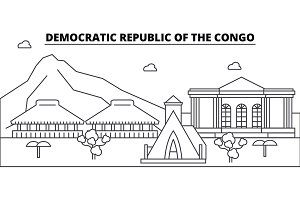 Democratic Republic Of The Congo architecture skyline buildings, silhouette, outline landscape, landmarks. Editable strokes. Urban skyline illustration. Flat design vector, line concept