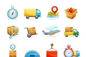 Global transportation icons set
