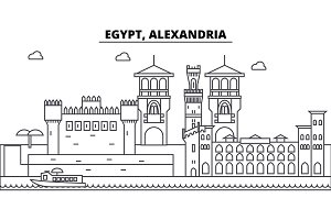 Egypt, Alexandria architecture skyline buildings, silhouette, outline landscape, landmarks. Editable strokes. Urban skyline illustration. Flat design vector, line concept