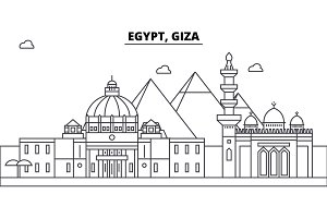 Egypt, Giza architecture skyline buildings, silhouette, outline landscape, landmarks. Editable strokes. Urban skyline illustration. Flat design vector, line concept