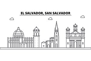 El Salvador, San Salvador architecture skyline buildings, silhouette, outline landscape, landmarks. Editable strokes. Urban skyline illustration. Flat design vector, line concept