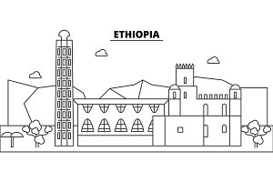 Ethiopia architecture skyline buildings, silhouette, outline landscape, landmarks. Editable strokes. Urban skyline illustration. Flat design vector, line concept