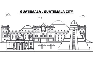 Guatemala , Guatemala City architecture skyline buildings, silhouette, outline landscape, landmarks. Editable strokes. Urban skyline illustration. Flat design vector, line concept