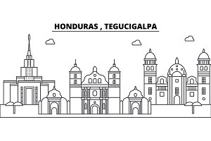 Honduras , Tegucigalpa architecture skyline buildings, silhouette, outline landscape, landmarks. Editable strokes. Urban skyline illustration. Flat design vector, line concept