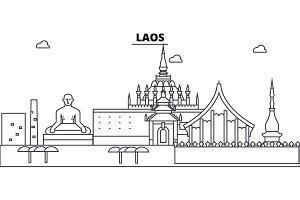 Laos architecture skyline buildings, silhouette, outline landscape, landmarks. Editable strokes. Urban skyline illustration. Flat design vector, line concept