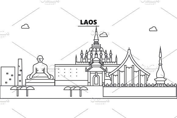 Laos Architecture Skyline Buildings Silhouette Outline Landscape Landmarks Editable Strokes Urban Skyline Illustration Flat Design Vector Line Concept
