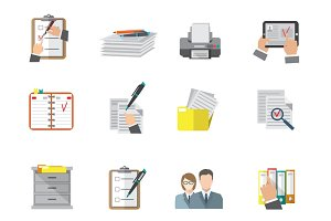 Document organizing icon set
