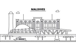 Maldives architecture skyline buildings, silhouette, outline landscape, landmarks. Editable strokes. Urban skyline illustration. Flat design vector, line concept