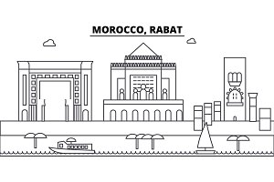 Morocco, Rabat architecture skyline buildings, silhouette, outline landscape, landmarks. Editable strokes. Urban skyline illustration. Flat design vector, line concept