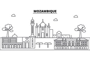 Mozambique architecture skyline buildings, silhouette, outline landscape, landmarks. Editable strokes. Urban skyline illustration. Flat design vector, line concept
