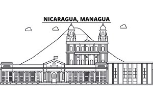 Nicaragua, Managua architecture skyline buildings, silhouette, outline landscape, landmarks. Editable strokes. Urban skyline illustration. Flat design vector, line concept