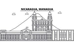 Nicaragua, Managua architecture skyline buildings, silhouette, outline landscape, landmarks. Editable strokes. Urban skyline illustration. Flat design vector, line concept