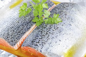 Closeup of fresh salmon