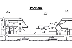 Panama architecture skyline buildings, silhouette, outline landscape, landmarks. Editable strokes. Urban skyline illustration. Flat design vector, line concept