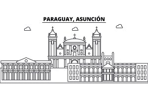 Paraguay, Asuncion architecture skyline buildings, silhouette, outline landscape, landmarks. Editable strokes. Urban skyline illustration. Flat design vector, line concept