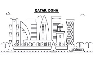 Qatar, Doha architecture skyline buildings, silhouette, outline landscape, landmarks. Editable strokes. Urban skyline illustration. Flat design vector, line concept