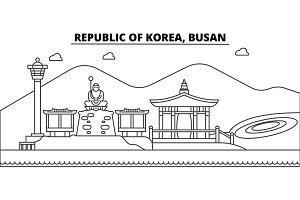 Republic Of Korea, Busan architecture skyline buildings, silhouette, outline landscape, landmarks. Editable strokes. Urban skyline illustration. Flat design vector, line concept
