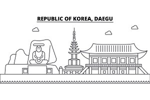 Republic Of Korea, Daegu architecture skyline buildings, silhouette, outline landscape, landmarks. Editable strokes. Urban skyline illustration. Flat design vector, line concept