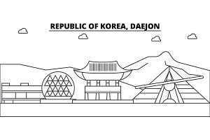 Republic Of Korea, Daejon architecture skyline buildings, silhouette, outline landscape, landmarks. Editable strokes. Urban skyline illustration. Flat design vector, line concept