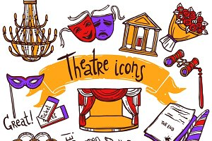 Theater icons sketch set