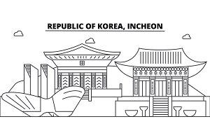 Republic Of Korea, Incheon architecture skyline buildings, silhouette, outline landscape, landmarks. Editable strokes. Urban skyline illustration. Flat design vector, line concept