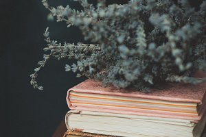 Old books and lavender