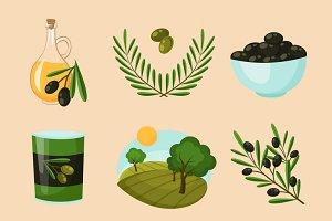 Olive icons set