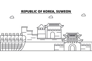 Republic Of Korea, Suweon architecture skyline buildings, silhouette, outline landscape, landmarks. Editable strokes. Urban skyline illustration. Flat design vector, line concept
