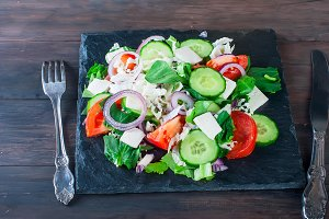 Salad with cucumber and tomatoes