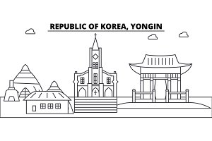Republic Of Korea, Yongin architecture skyline buildings, silhouette, outline landscape, landmarks. Editable strokes. Urban skyline illustration. Flat design vector, line concept