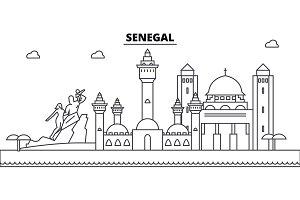 Senegal architecture skyline buildings, silhouette, outline landscape, landmarks. Editable strokes. Urban skyline illustration. Flat design vector, line concept