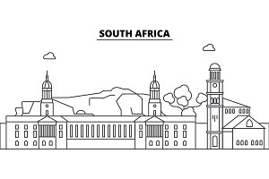 South Africa architecture skyline buildings, silhouette, outline landscape, landmarks. Editable strokes. Urban skyline illustration. Flat design vector, line concept
