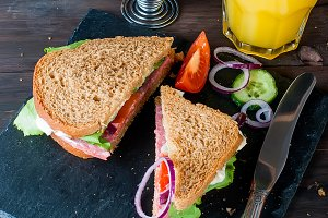 Breackfast with sandwich and coffee