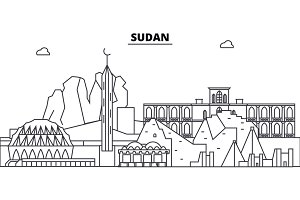 Sudan architecture skyline buildings, silhouette, outline landscape, landmarks. Editable strokes. Urban skyline illustration. Flat design vector, line concept