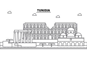 Tunisia architecture skyline buildings, silhouette, outline landscape, landmarks. Editable strokes. Urban skyline illustration. Flat design vector, line concept