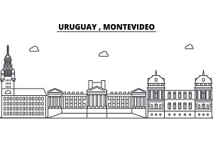 Uruguay , Montevideo architecture skyline buildings, silhouette, outline landscape, landmarks. Editable strokes. Urban skyline illustration. Flat design vector, line concept