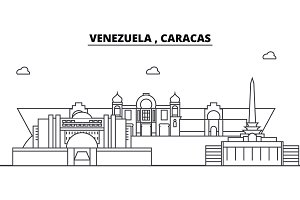 Venezuela , Caracas architecture skyline buildings, silhouette, outline landscape, landmarks. Editable strokes. Urban skyline illustration. Flat design vector, line concept