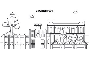 Zimbabwe architecture skyline buildings, silhouette, outline landscape, landmarks. Editable strokes. Urban skyline illustration. Flat design vector, line concept