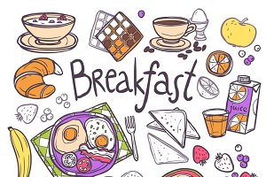 Breakfast sketch icons set