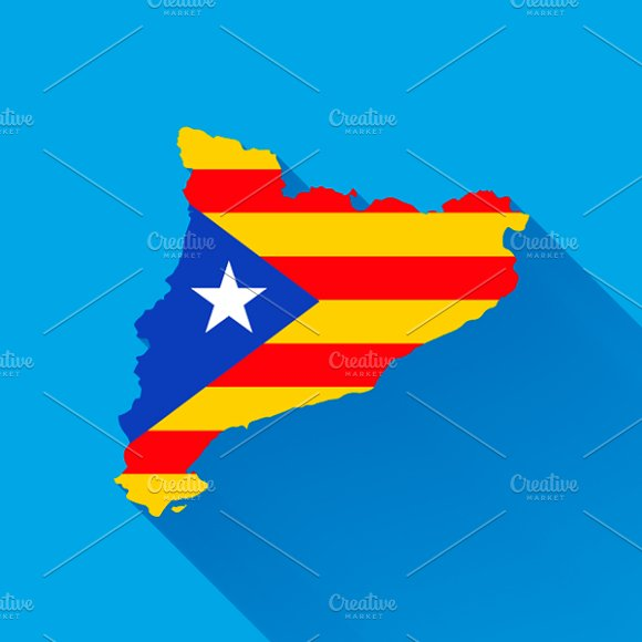 Catalonia Map Silhouette With Flag