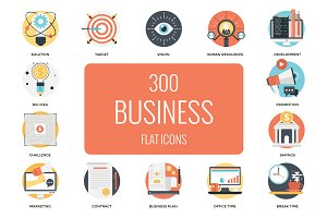 300 Flat Business Icons