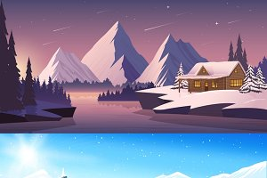 Winter landscape horizontal banners