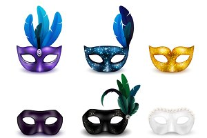 Masquerade mask icon set