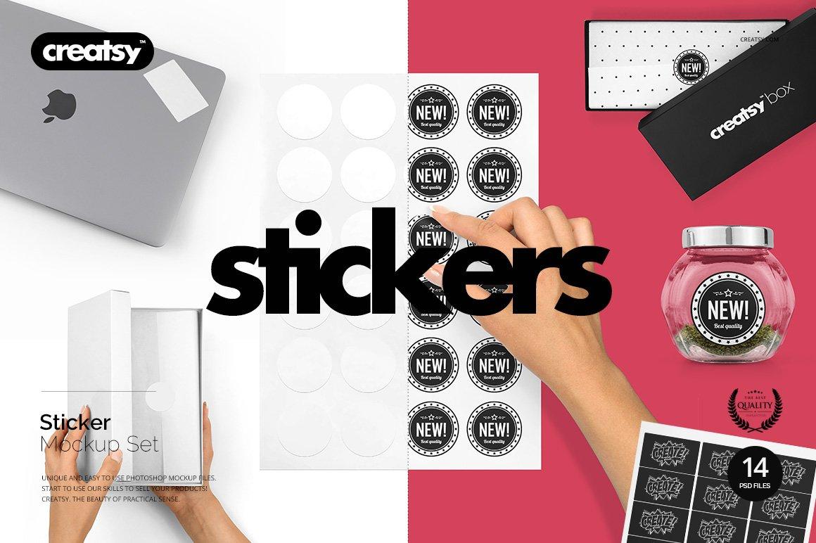 Stickers mockup set product mockups creative market