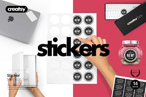 Stickers Mockup Set
